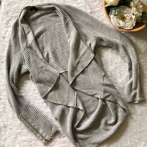 Banana Republic Grey Ribbed Open Cardigan